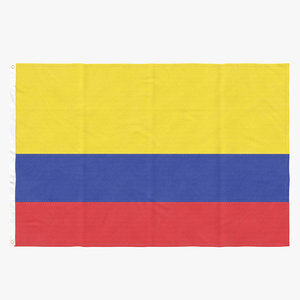flag laying pose colombia 3D
