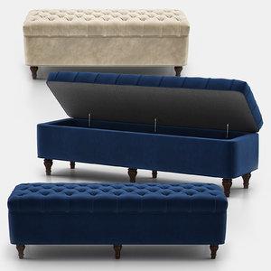 lorraine tufted storage bench 3D model