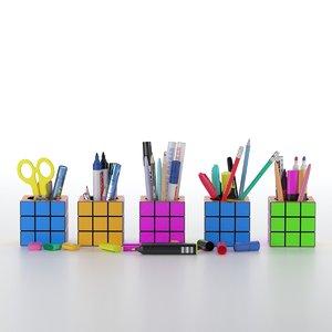 3D stationery set cubes