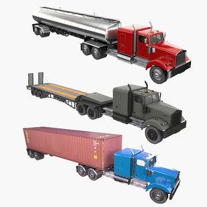truck trailer w900 3D