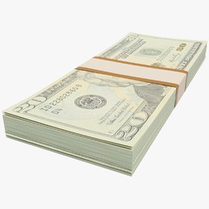 3D dollars bills banknotes
