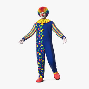 3D funny clown costume rigged