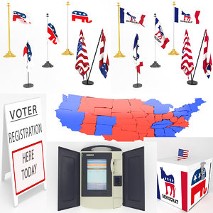 3D usa election set flag model