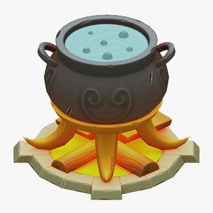 3D model wizards cauldron paint