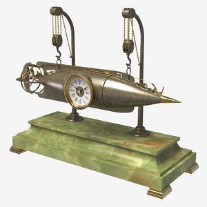 antique torpedo clock 3D model