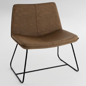 lounge chair faux leather 3D model