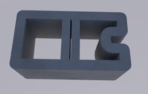 3D cinder block brick concrete