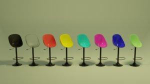 modern bar stool color 3D model
