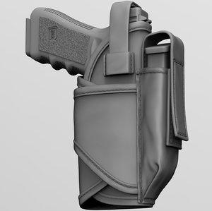 3D pistol holster model