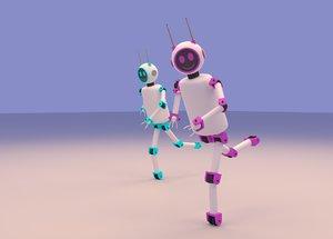 cartoon cute couple robot model