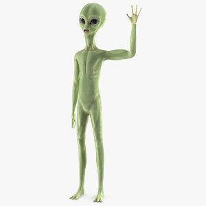3D model cartoon alien greetings pose