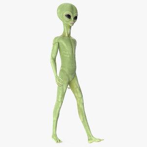 3D cartoon alien walking pose