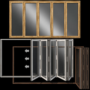 folding stained glass wooden doors model
