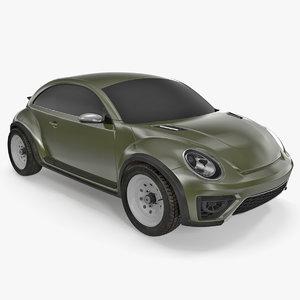 3D compact car simple interior model