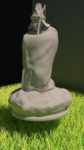 3D model estatua hombre arco
