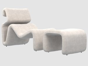 3D etcetera lounge chair stool model