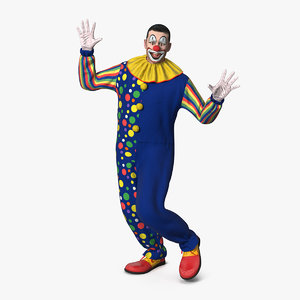 funny clown dancing pose 3D model