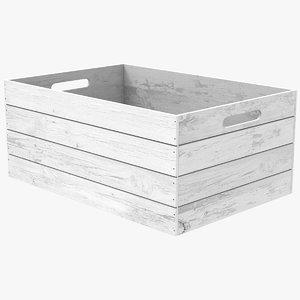 vintage wooden white box 3D