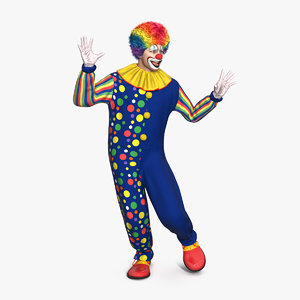 funny clown costume dancing 3D