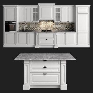 3D modern classic kitchen