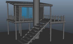 3D natural treehouse large stairs