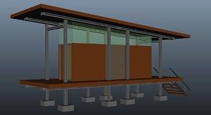 beautify open landscape house roof 3D model