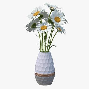 bouquet chamomile flowers vase 3D