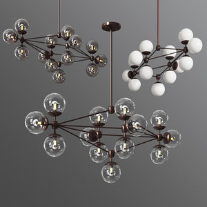 3D chandelier diamond 13 globes