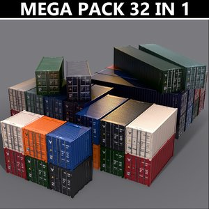 3D 10ft container cargo 20 model