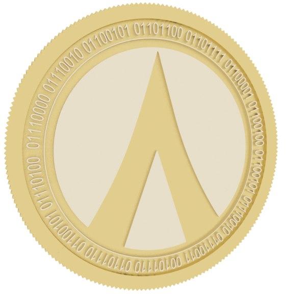 dentacoin gold coin 3D