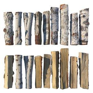 firewood birch wood model