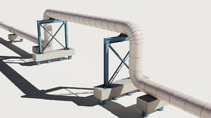 industrial pipes sections 3D model