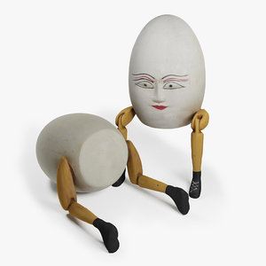 3D model sitting wooden humpty dumpty