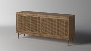 wicker sideboard 3D model