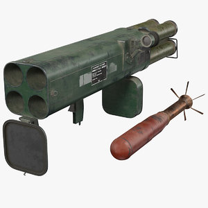 incendiary rocket launcher m202a1 3D model