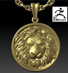 3D lion head pendant