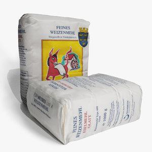 small paper sack flour 3D