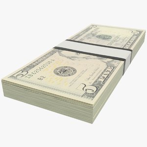 dollars bills banknotes 3D model