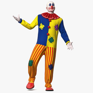 bald clown rigged modo 3D