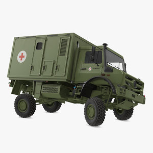 3D mercedes unimog 4023 ambulance vehicle model