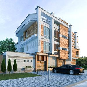 3D modern facade model