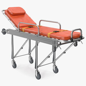 3D steel ambulance stretcher hospital bed