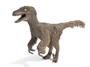 3D model velociraptor feathers
