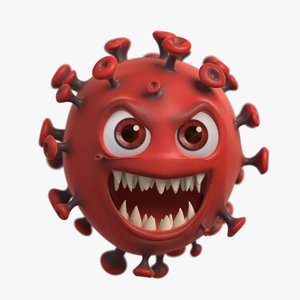3D model covid-19 coronavirus cartoon character