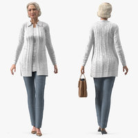 Elderly Lady in Casual Clothes Rigged for Maya