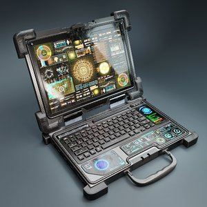 3D model laptop rugged scifi