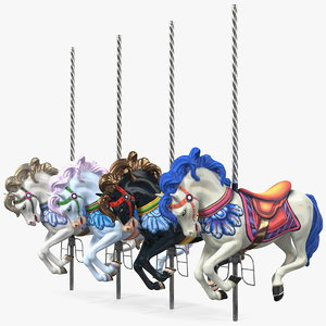 3D carousel galloping horses set