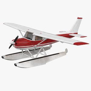 3D model civil floatplane aircraft floats