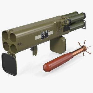 3D model incendiary rocket launcher m202a1