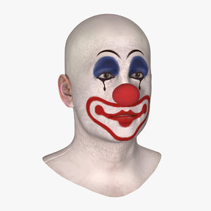 3D bald clown head model